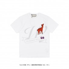 GC Oversize T-shirt with deer patch White