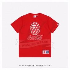 Bape & Coca-Cola Star Flash Ape Head Print T-shirt Red