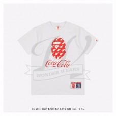 Bape & Coca-Cola Star Flash Ape Head Print T-shirt White