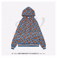 BR Monogram Print Cotton Hoodie - Unisex