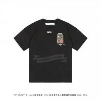 """LOUVRE MUSEUM X Off White """"DA VINCI"""" Portrait sketch Print T-shirt Black"""