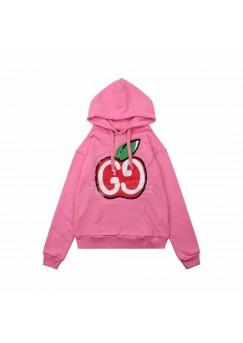 GC Hooded sweatshirt with GG apple print Pink