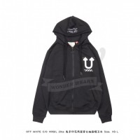 Off White Skeleton Rvrs Zipped Hoodie Black
