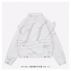 13D Mini Teddy Bear Cover Denim Jacket White