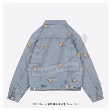 13D Mini Teddy Bear Cover Denim Jacket