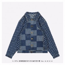 1V GIANT DAMIER WAVES MONOGRAM DENIM JACKET Blue