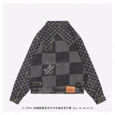1V GIANT DAMIER WAVES MONOGRAM DENIM JACKET Grey