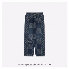 1V GIANT DAMIER WAVES MONOGRAM DENIM PANTS Blue