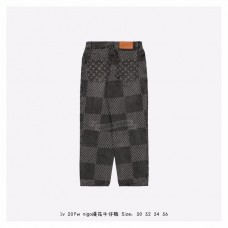 1V GIANT DAMIER WAVES MONOGRAM DENIM PANTS Grey