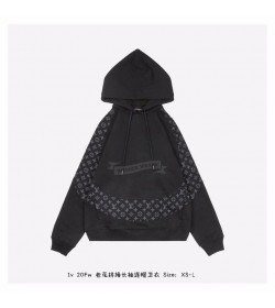 1V Monogram Circle Cut Hoodie  Black