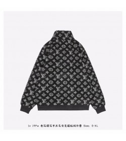 1V Monogram Jacquard Black Fleece Zip Through Jacket