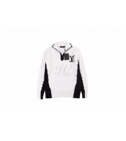 1V Two-Tone High Neck With Half-Zip Sweater
