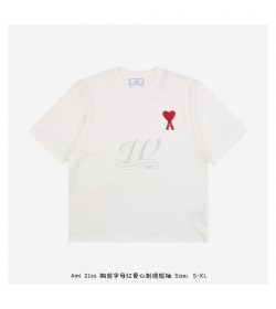 AMI Embroidered Logo Red Hearts T-shirt