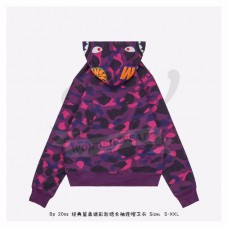 BAPE Color Camo Detachable Shark Full Zip Hoodie Purple
