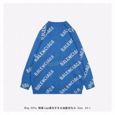 BC Allover Logo Crewneck Jacquard Cotton Knit Blue/White
