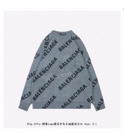 BC Allover Logo Crewneck Jacquard Cotton Knit Grey/Black
