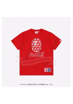 Bape & Coca-Cola Star Flash Ape Head Print T-shirt Red