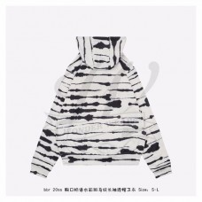 BR Logo Appliqué Watercolour Print Cotton Hoodie