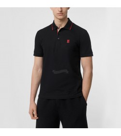 BR Monogram Motif Cotton Piqué Polo Shirt