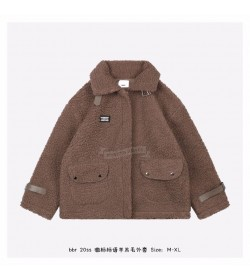 BR Slogan Wool Fleece Jacket Brown