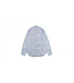 DR Oblique Overshirt Blue And White Cotton Denim