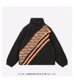 FD FF Motif Faux Fur Jacket Black