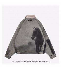 FOG Horse Print Canvas Work Jacket Horse Print/Grey