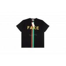 GC 'Fake/Not' Print Oversize T-shirt