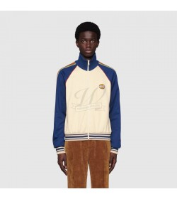 GC Technical Jersey Zip-Up Jacket In Ivory And Blue