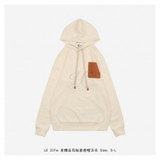 LOEWE Leather-Trimmed Cotton-Jersey Hoodie