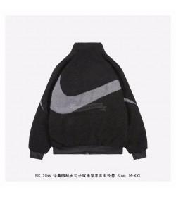 Nike Big Swoosh Reversible Full Zip-up fleece Jacket Volt Black/Grey