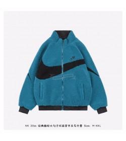 Nike Big Swoosh Reversible Full Zip-up fleece Jacket Volt Blue/Black