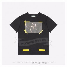 Off White 15FW Angle Yellow Arrows Print T-shirt Black