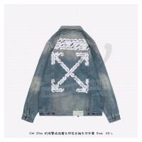 OFF-WHITE Airport Tape Denim Jacket Vintage Wash Multicolor