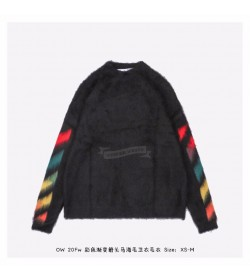 OFF-WHITE Brushed Mohair Diag Arrows Logo Knit Sweater Black/Rainbow
