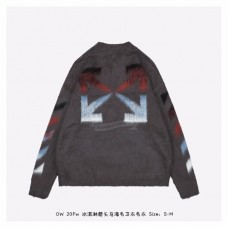 OFF-WHITE Brushed Mohair Diag Stencil Arrows Knit Sweater Grey/Rainbow