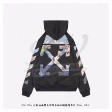 OFF-WHITE Diag Print Zip Up Hoodie Black/Multicolor