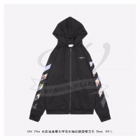 OFF-WHITE Diag Print Zip Up Hoodie Black/Multicolor