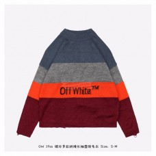 OFF-WHITE Distressed Striped Sweater Red/Blue
