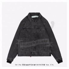 OFF-WHITE Logo Print Denim Jersey Jacket Black