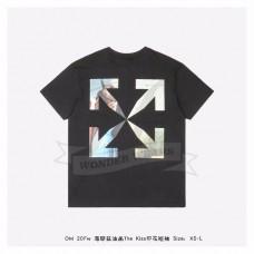 """Off-White """"THE KISS"""" Black Kiss S/S T-shirt Black Light Blue"""