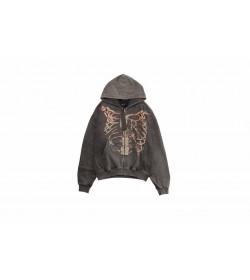 Represent Bones Printed Cotton Zip Hoodie